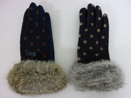 TOPKAPI 水玉×ファー スマホ手袋
